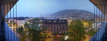 """Bergen by night"", as seen from a balcony, 9th floor, Radisson BLU Hotel Norge © 2015 Knut Dalen"
