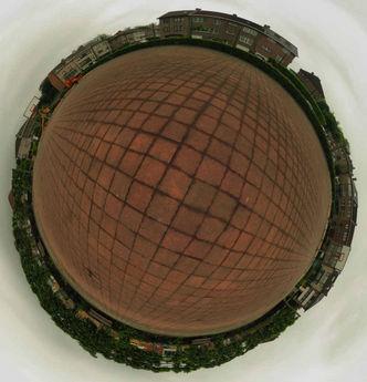 'Planet' version of Place 'T Hof Te Overbeke at Berchem St Agatghe, Brussel (Belgium) © 2007 Olivier Detry  - Canon Powershot G3 -