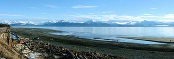 People walk the beach in Homer Alaska © 2005 Ray Holbrook