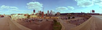 617 Days to First Pitch -- The construction site of PNC Park © 1999 John Strait
